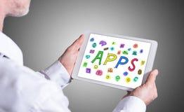 Concept d'Apps sur un comprimé Photographie stock libre de droits