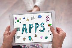 Concept d'Apps sur un comprimé Image libre de droits