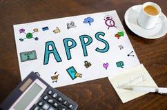 Concept d'Apps sur un papier Image libre de droits