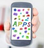 Concept d'Apps sur un smartphone Photographie stock libre de droits