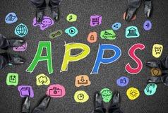 Concept d'Apps sur une route photo stock