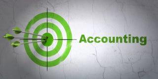 Concept d'argent : cible et comptabilité sur le fond de mur Photos libres de droits