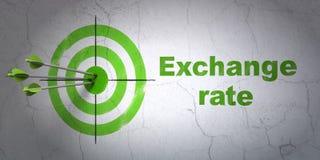 Concept d'argent : cible et taux de change sur le fond de mur Photographie stock