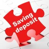 Concept d'argent : Dépôt d'épargne sur le fond de puzzle Images stock