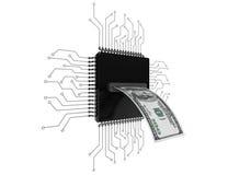 Concept d'argent de Digital Billet d'un dollar au-dessus des puces avec le circuit Photos stock