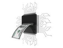 Concept d'argent de Digital Billet d'un dollar au-dessus des puces avec le circuit Photos libres de droits