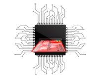 Concept d'argent de Digital Carte de crédit au-dessus des puces avec le circuit Photos libres de droits
