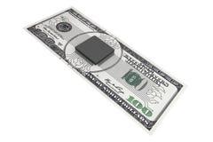 Concept d'argent de Digital Puce avec le circuit au-dessus de billet d'un dollar Image stock