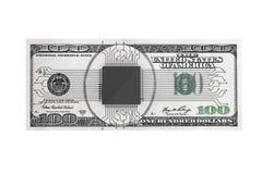 Concept d'argent de Digital Puce avec le circuit au-dessus de billet d'un dollar Images stock