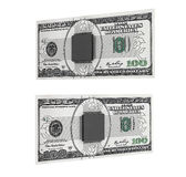 Concept d'argent de Digital Puce avec le circuit au-dessus des billets d'un dollar Images stock