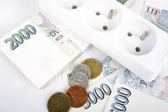 Concept d'argent de facture d'énergie chère Images libres de droits