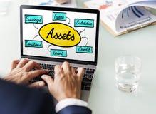 Concept d'argent de finances d'actifs comptables images stock