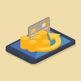 Concept d'argent mobile ou d'opérations bancaires en ligne illustration de vecteur