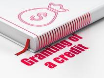 Concept d'argent : sac d'argent de livre, octroi du crédit d'A sur le fond blanc Photographie stock libre de droits