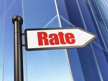Concept d'argent : taux de signe sur le fond de bâtiment Photographie stock libre de droits