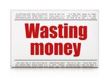 Concept d'argent : titre de journal gaspillant l'argent Photos libres de droits
