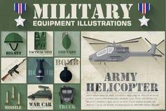 Concept d'armée des icônes plates d'équipement militaire Photo stock