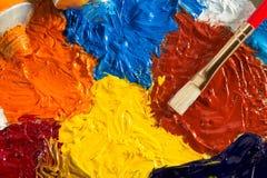 Concept d'art avec la brosse et la peinture à l'huile images libres de droits