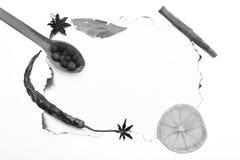 Concept d'art de nourriture Composition de condiment sur le papier Les cuillères en bois avec des boules de poivre noir, cannelle photographie stock libre de droits