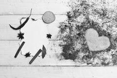 Concept d'art de nourriture Ensemble d'épices sur le fond en bois beige Image libre de droits