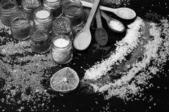 Concept d'art de nourriture l cuillères en bois avec le paprika, le safran des indes et le sel de mer photo libre de droits