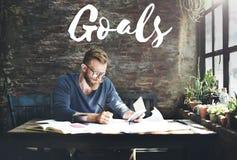 Concept d'aspirations de motivation de vision de but de cible de buts photos stock