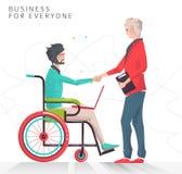 Concept d'association entre le handicapé travaillant avec le carnet et l'homme d'affaires Photo libre de droits