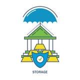 Concept d'assurance sur dépôt Illustration plate de vecteur Photos stock