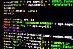 Concept d'attaque de DDOS, conceptuel du code d'attaque de cyber Photographie stock