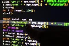 Concept d'attaque de DDOS, conceptuel du code d'attaque de cyber Photos stock