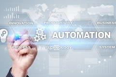 Concept d'automation comme innovation, améliorant la productivité, la fiabilité en technologie et les processus d'affaires images libres de droits