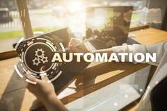 Concept d'automation comme innovation, améliorant la productivité, la fiabilité en technologie et les processus d'affaires image libre de droits