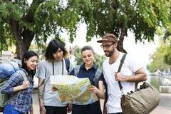 Concept d'aventure de randonneur de voyage d'amis Images libres de droits