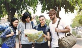 Concept d'aventure de randonneur de voyage d'amis Photo libre de droits