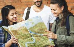 Concept d'aventure de randonneur de voyage d'amis Image libre de droits