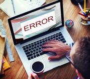 Concept d'avertissement de fin anormale d'échec de débranchement d'erreur images stock