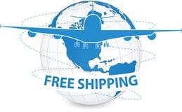 Concept d'avion, expédition de métier d'air autour du monde pour le concept de transport Image stock