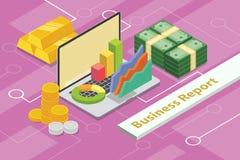 Concept 3d de rapport de gestion isométrique avec le diagramme d'ordinateur portable et de graphique et les pièces d'or Photographie stock libre de droits
