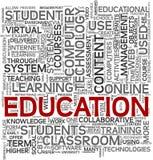 Concept d'éducation en nuage d'étiquette Image stock