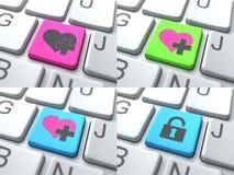 Concept d'E-datation - bouton de couleur sur le clavier Image libre de droits