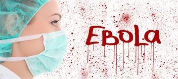 Concept d'Ebola - jeune docteur féminin dans le masque de chirurgien Photographie stock