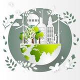 Concept d'eco, concepts écologiques globaux créatifs de carte du monde de dessin Illustration Photo stock