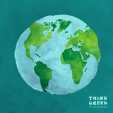 Concept d'eco d'aquarelle de 01 globes illustration stock