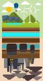 Concept d'Eco et pollution environnementale par l'usine Images stock