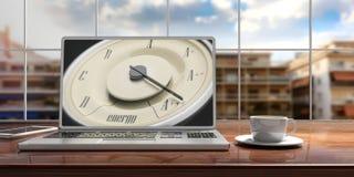 Concept d'efficacité énergétique Mesure de voiture de vintage sur un écran d'ordinateur portable, fond de ville de tache floue il Photographie stock