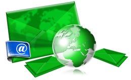 Concept d'email avec le globe vert Image libre de droits