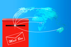 Concept d'email, boîte aux lettres rouge Image stock