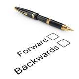 Concept d'enquête Expédiez ou liste de contrôle arrière avec Founta d'or Image stock
