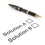 Concept d'enquête Solution A ou liste de contrôle de B avec la fontaine d'or W Image libre de droits
