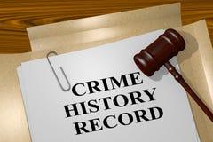 Concept d'enregistrement historique de crime Photos stock